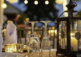 table setup with lanterns