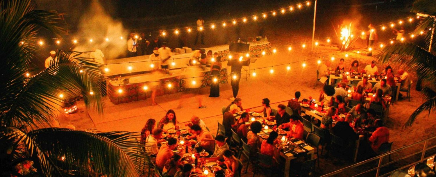 aerial view of beach event at night